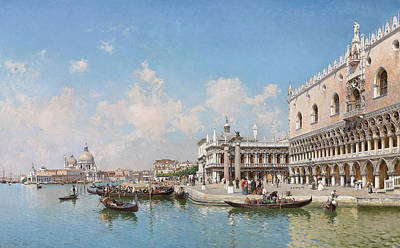 The Doge's Palace And Santa Maria Della Salute Poster by Federico del Campo