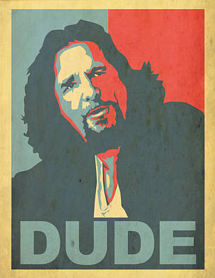 The Dude Obama Poster Poster by Christian Broadbent