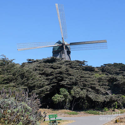 Poster featuring the photograph The Dutch Windmill San Francisco Golden Gate Park San Francisco California 5d3256 Square by San Francisco Art and Photography