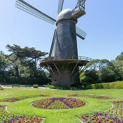 Poster featuring the photograph The Dutch Windmill San Francisco Golden Gate Park San Francisco California Dsc6361 Square by San Francisco Art and Photography