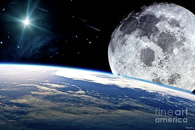 The Earth, Moon And The Stars Poster by Thomas Pollart