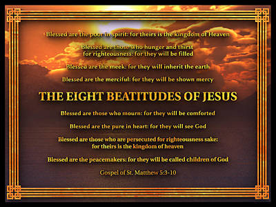 The Eight Beatitudes Of Jesus Poster