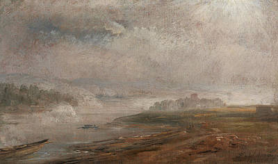The Elbe On A Foggy Morning Poster
