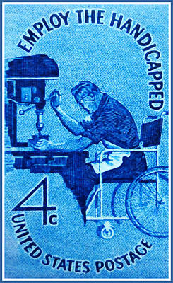The Employ The Handicapped Stamp Poster by Lanjee Chee