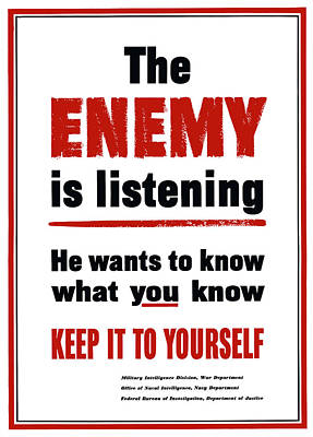 The Enemy Is Listening - Ww2 Poster by War Is Hell Store