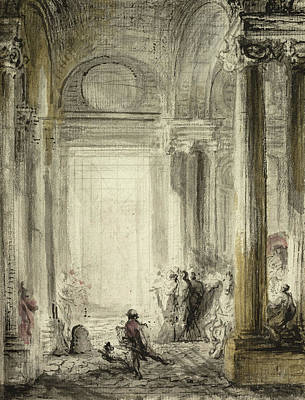 The Entrance Of The Academy Of Architecture At The Louvre Poster by Gabriel de Saint-Aubin