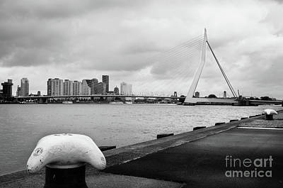 Poster featuring the photograph The Erasmus Bridge In Rotterdam Bw by RicardMN Photography