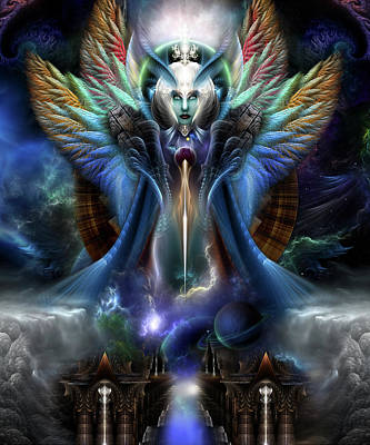 The Eternal Majesty Of Thera Fractal Portrait Poster by Xzendor7