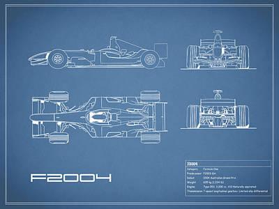 The F2004 Gp Blueprint Poster by Mark Rogan