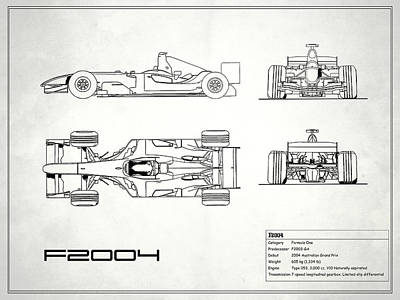 The F2004 Gp Blueprint - White Poster by Mark Rogan
