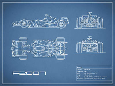 The F2007 Gp Blueprint Poster by Mark Rogan