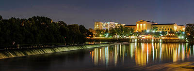 Poster featuring the photograph The Fairmount Dam And Art Museum At Night Panorama by Bill Cannon