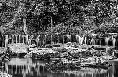 The Falls At Pillsbury Crossing In Black And White  Poster