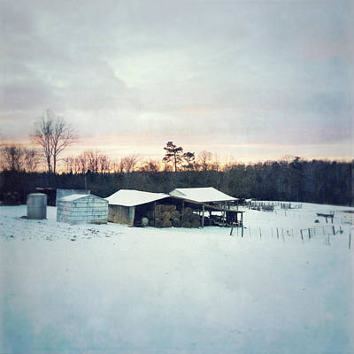 The Farm In Snow At Sunset Poster