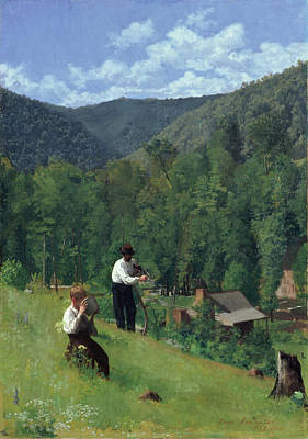 The Farmer And His Son At Harvesting Poster
