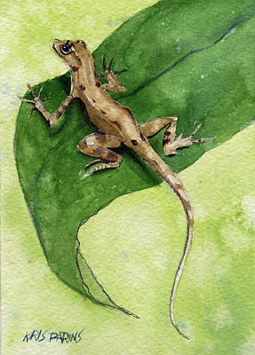 Poster featuring the painting The Feckless Gecko by Kris Parins