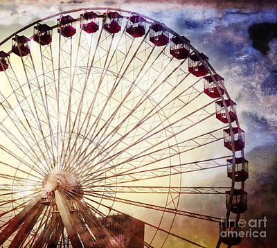 The Ferris Wheel At Navy Pier Poster by Mary Machare