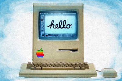 The First Apple Computer Painting Blue Poster