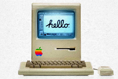 The First Apple Computer Painting Poster