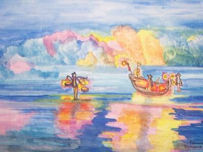 Poster featuring the painting The Fishermen Come Home by Connie Valasco