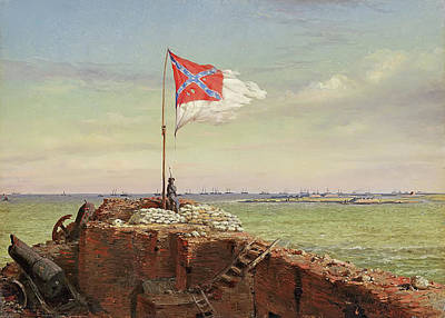 The Flag Of Sumter 1863 Poster by Conrad Chapman