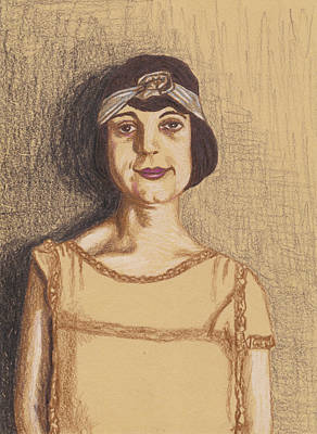 Poster featuring the drawing The Flapper by Jean Haynes