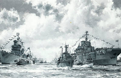 The Fleet At Spithead Poster by Montague Dawson