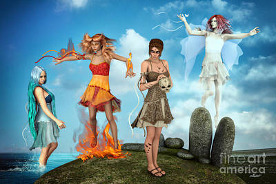 The Four Elements Poster by Jutta Maria Pusl