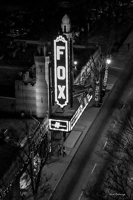 The Fox Thearter Bw Atlanta Night Art Poster by Reid Callaway