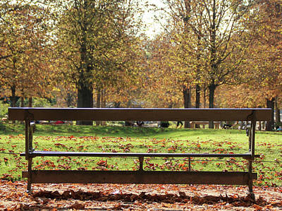 The French Bench And The Autumn Poster by Yoel Koskas