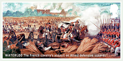 The French Cavalry's Assault On Allied Defensive Squares Poster by Lanjee Chee