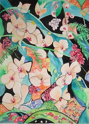 Poster featuring the painting The Gallery Of Orchids 1 by Esther Newman-Cohen