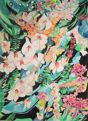 Poster featuring the painting The Gallery Of Orchids 2 by Esther Newman-Cohen