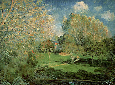 The Garden Of Hoschede Family Poster by Alfred Sisley