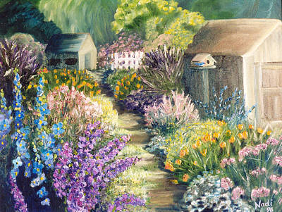 Poster featuring the painting The Garden Path by Renate Nadi Wesley