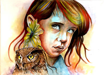 The Girl And The Owl Poster by Ole Hedeager Mejlvang