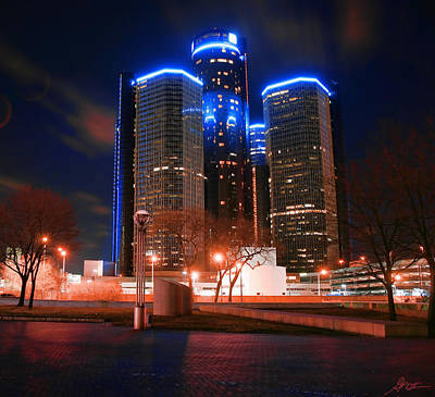 The Gm Renaissance Center At Night From Hart Plaza Detroit Michigan Poster