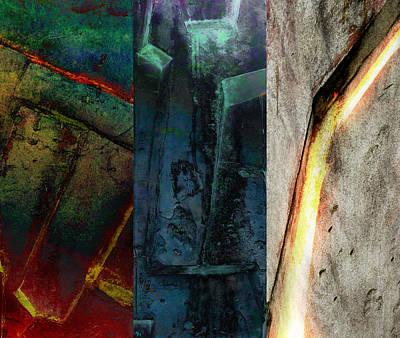 Poster featuring the digital art The Gods Triptych 1 by Ken Walker