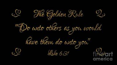 Poster featuring the digital art The Golden Rule Do Unto Others On Black by Rose Santuci-Sofranko