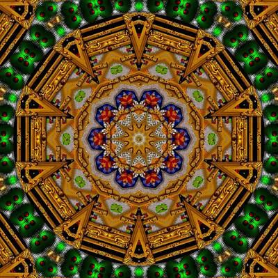 The Golden Sacred Mandala In Wood Poster
