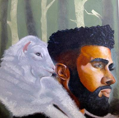 Poster featuring the painting The Good Shepherd  by Christopher Marion Thomas