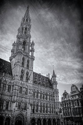 The Grandeur Of The Grand Place Brussels In Black And White  Poster
