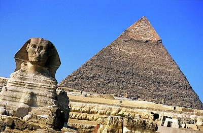 The Great Sphinx With The Khephren Pyramid In The Background Poster