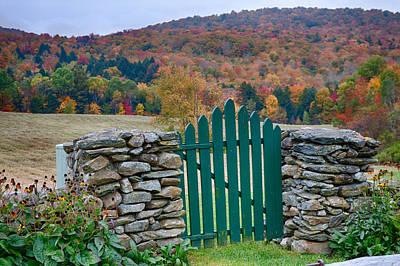 The Green Door In Autumn Poster