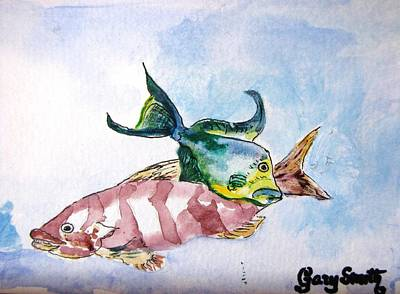 Poster featuring the painting The Grouper And Friend by Gary Smith