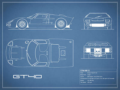 The Gt40 Blueprint Poster by Mark Rogan