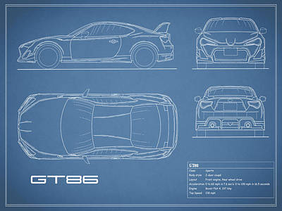 Car blueprint posters page 3 of 13 fine art america the gt86 blueprint poster malvernweather Images