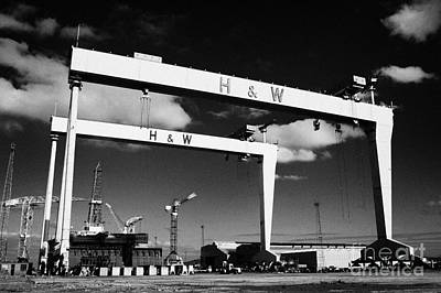 The Harland And Wolff Shipyard In Belfast Northern Ireland Featuring The Samson And Goliath Cranes Poster by Joe Fox