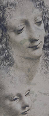 The Head Of A Woman And The Head Of A Baby Poster by Leonardo Da Vinci