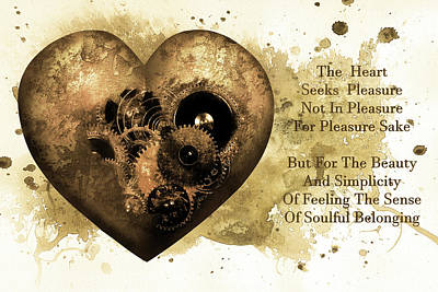 The Heart Seeks Pleasure Sepia Gold Art Poster